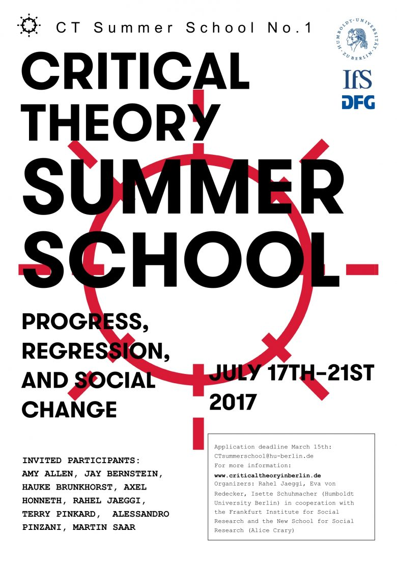 Critical Theory Summer School: Progress, Regression, and Social Change