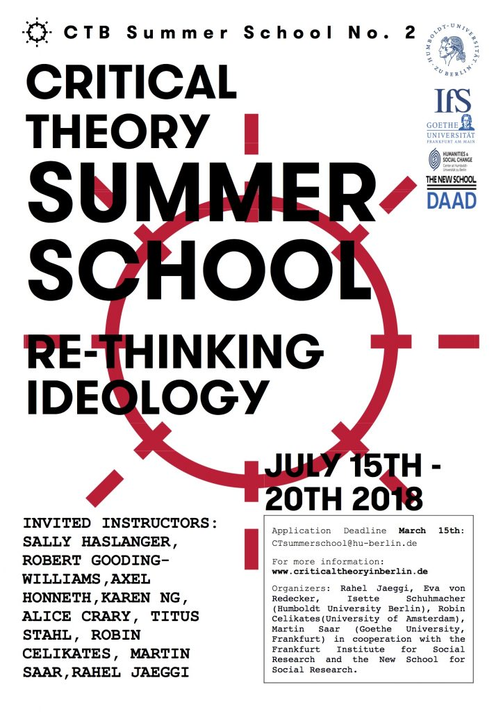 International Summer School Critical Theory 2018. Re-Thinking Ideology