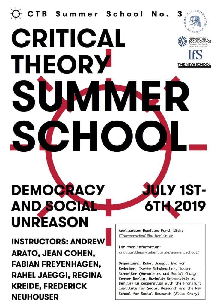 International Summer School Critical Theory 2019  Democracy