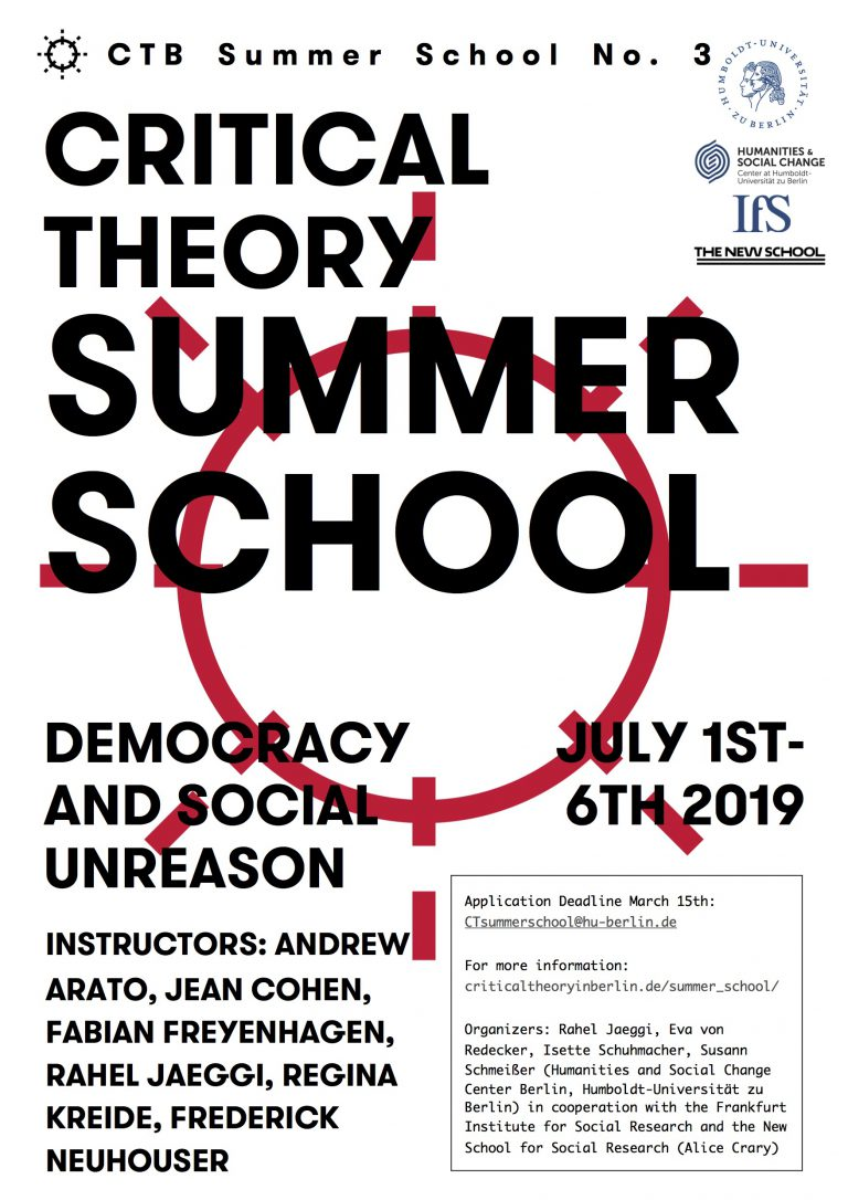 International Summer School Critical Theory 2019. Democracy and Social Unreason