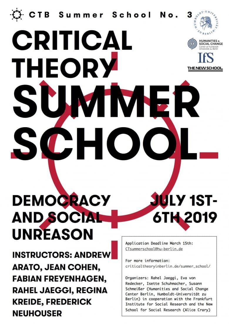 International Summer School Critical Theory 2019. Democracy and Social Unreason