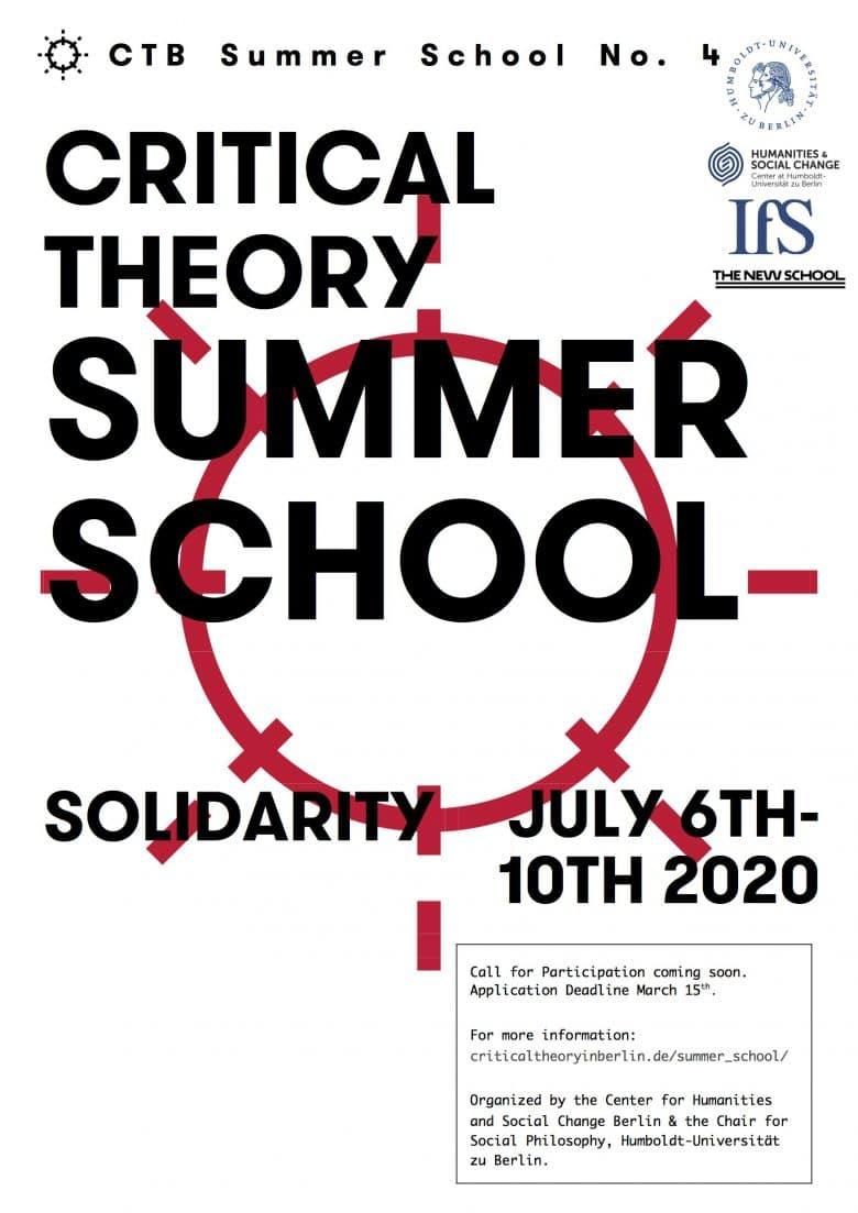 International Summer School Critical Theory 2020. Solidarity.