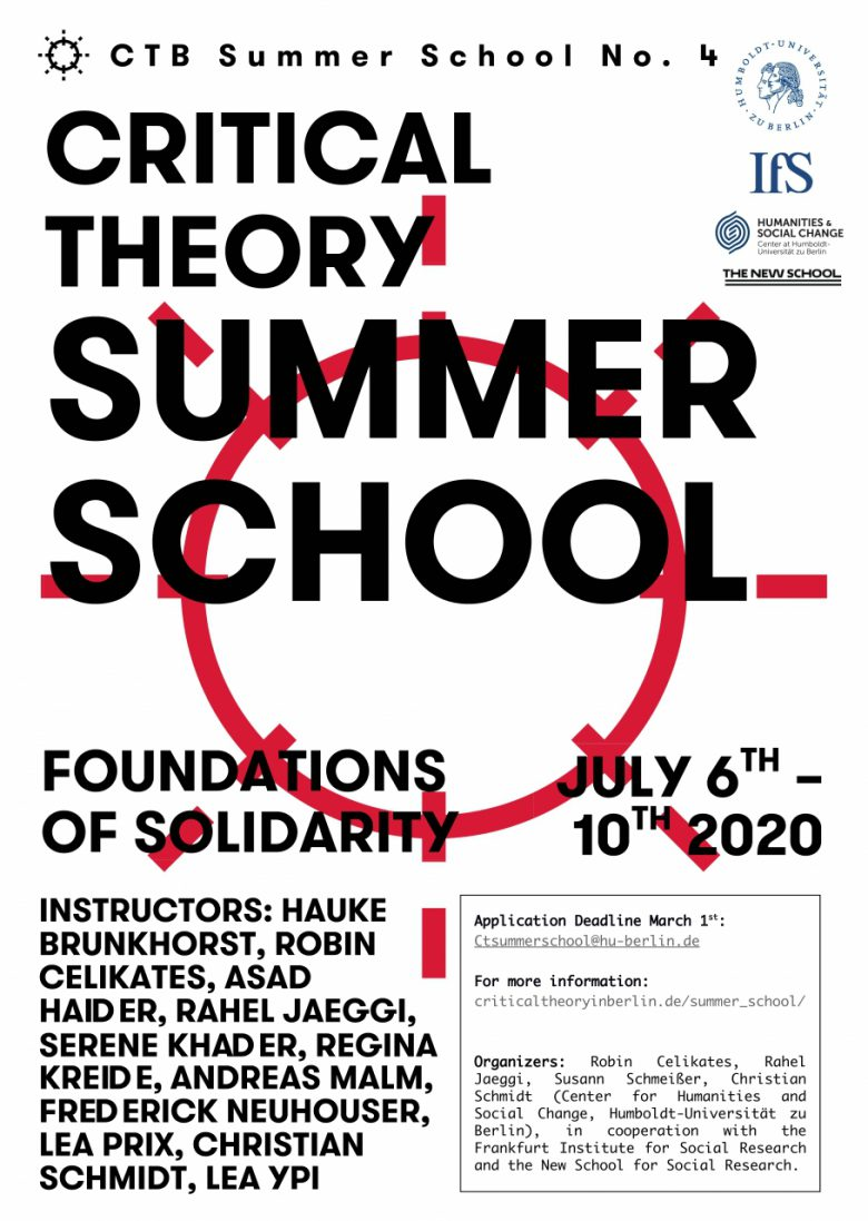 International Summer School Critical Theory 2020. Foundations of Solidarity.