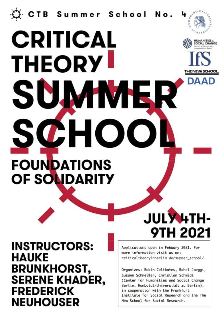 International Summer School Critical Theory 2021. Foundations of Solidarity
