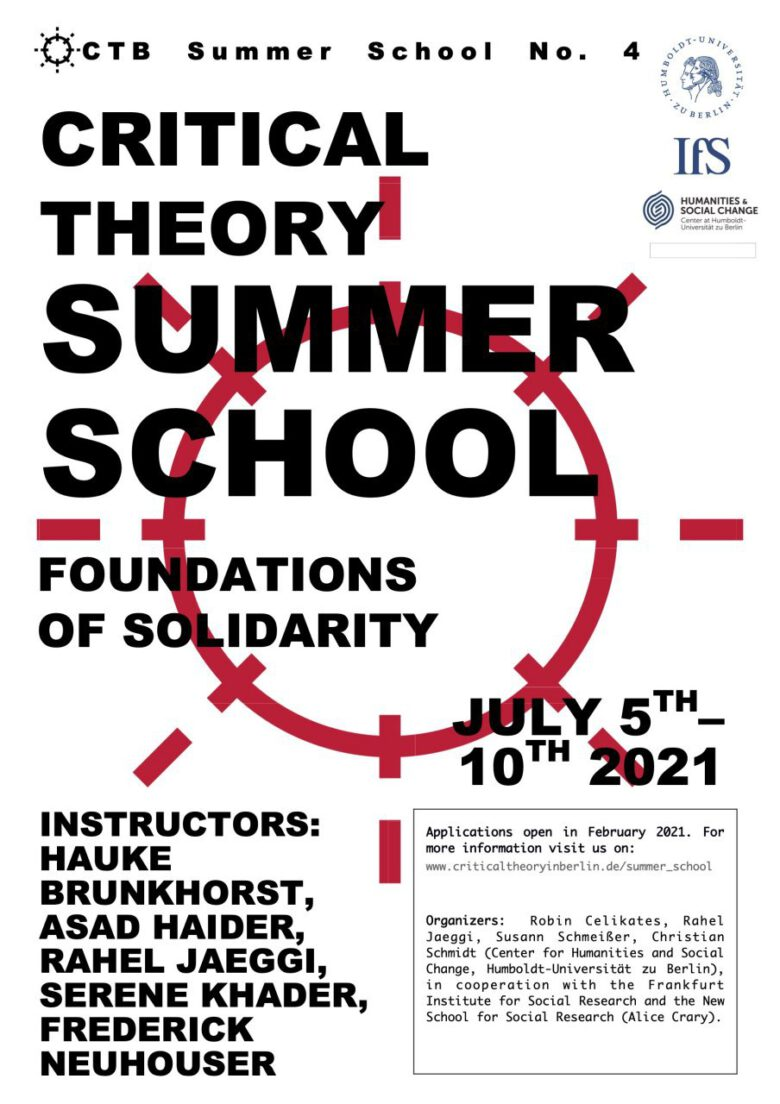 International Summer School Critical Theory 2021. Foundations of Solidarity.