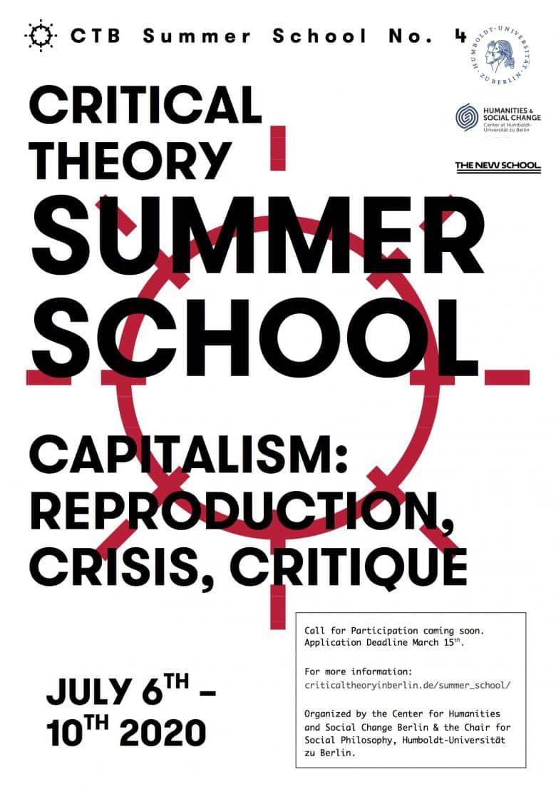 International Summer School Critical Theory 2020. Capitalism: Reproduction, Crisis, Critique.