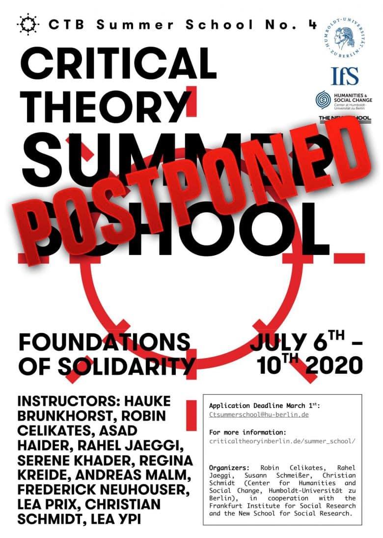 International Summer School Critical Theory 2020. Foundations of Solidarity.